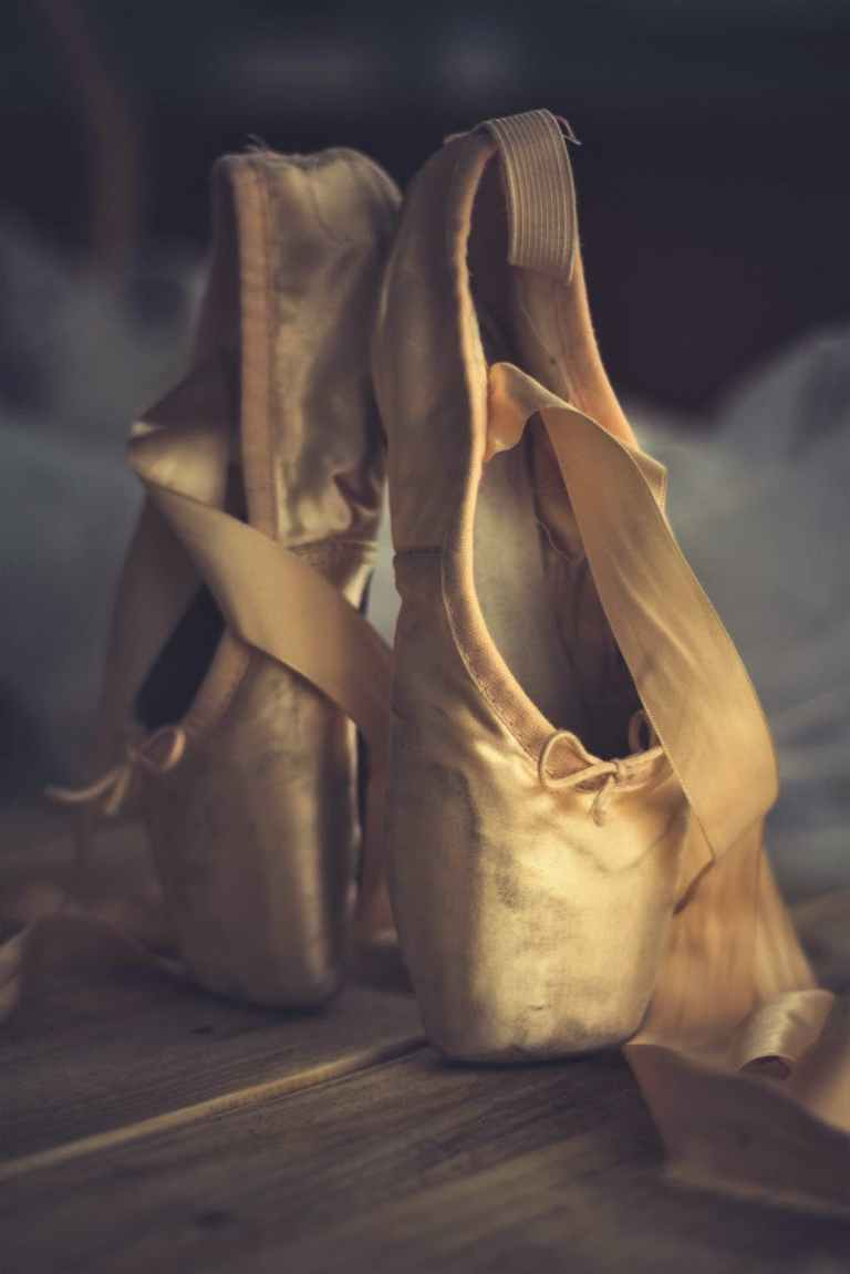 ballet ballet shoes blur close up