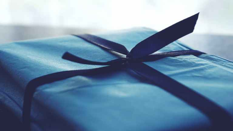 close up photo of tied blue box